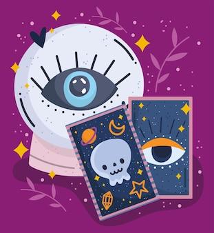 Sinais de astrologia de tarô bola de cristal mágica fortuna