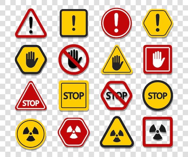 Sinais de aviso em um fundo transparente. não toque, pare de atenção.