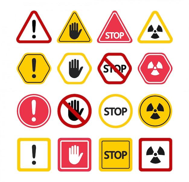 Sinais de aviso. não toque, pare de atenção! símbolos de proibição.