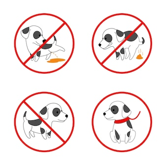 Sinais de cachorro. sem cachorro, sem cachorro mijando, sem cocô de cachorro. conjunto de sinais proibidos para animais. ilustração