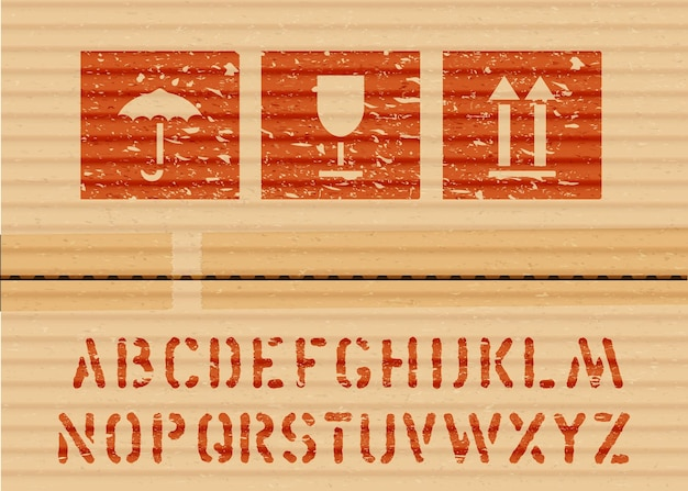 Sinais de caixa de ícone de grunge de carga padrão e alfabeto para carga e guarda-chuva logisticks, vidro, setas em papelão. ilustração vetorial