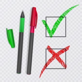 Sinais de carrapato e cruz. marca de seleção verde ok e ícones x vermelhos, isolados. ilustração