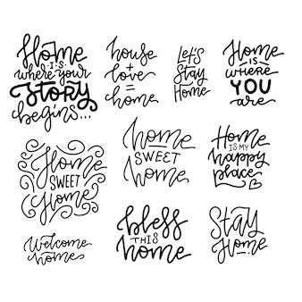 Sinais de citações de decoração para casa conjunto isolado. letras desenhadas à mão