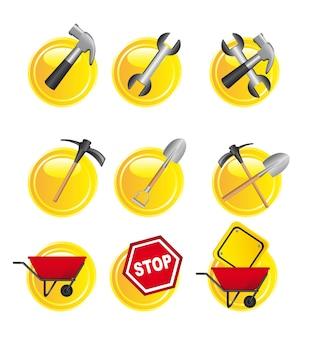 Sinais de construção amarelo sobre vetor de fundo branco