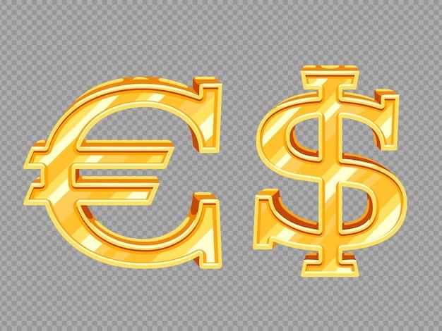 Sinais de dólar e euro dourados
