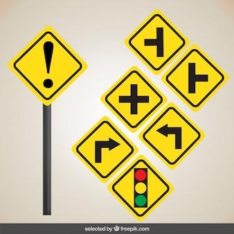 Sinais de estrada amarelos