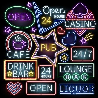 Sinais de iluminação de barra de néon. o café e o casino de néon iluminados, assinam a ilustração aberta de néon