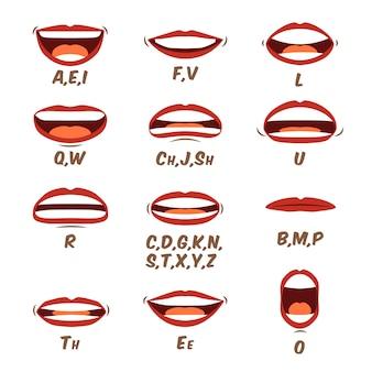 Sinais de língua e lábios de mulher para animação e pronúncia do som. coleção de desenhos animados de boca humana feminina em um estilo cartoon plana elementos de rosto de personagem. ilustração em um design moderno.