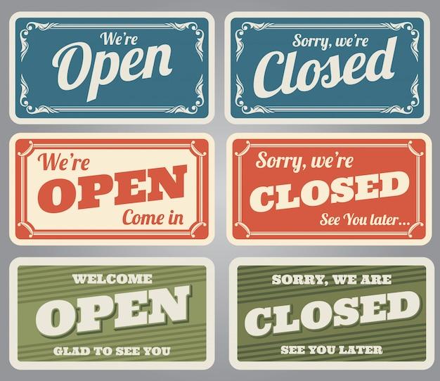 Sinais de loja aberta e fechada vintage
