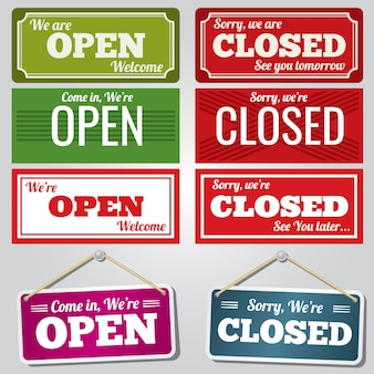 Sinais de loja aberta e fechada