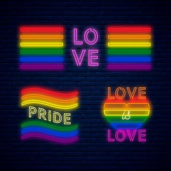 Sinais de luz de neon do dia do orgulho