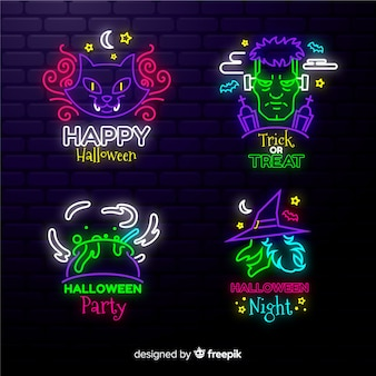 Sinais de luz de neon para festas de halloween
