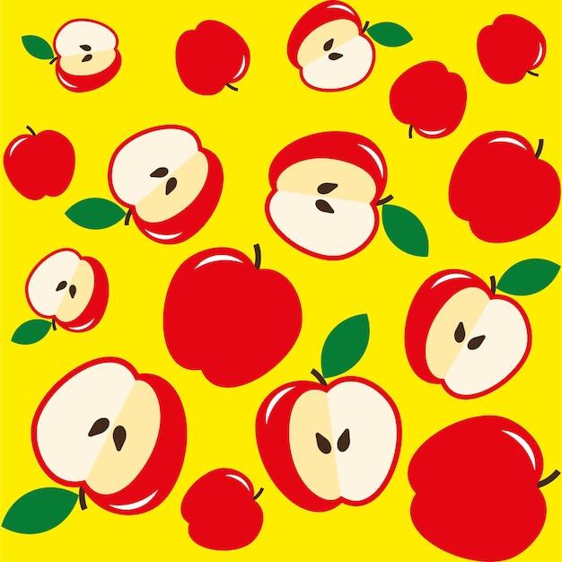 Sinais de maçãs vermelhas e núcleo em fundo amarelo sem costura. padrão sem emenda de maçãs