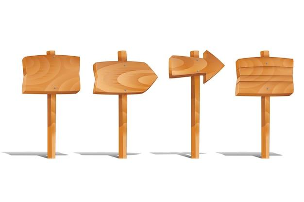 Sinais de madeira ajustados isolados no fundo branco. setas de madeira em branco, post de madeira compensada. ilustração do vetor de placas de madeira