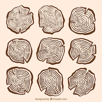 Sinais de madeira bonito desenhado mão