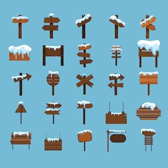 Sinais de madeira dos desenhos animados