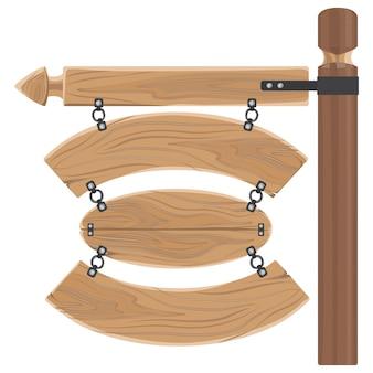 Sinais de madeira pendurados fixados no bastão longo