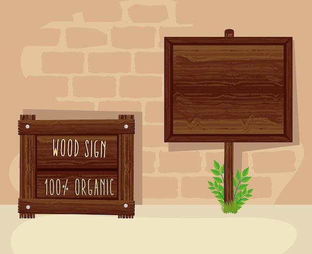Sinais de madeira, poste de sinalização de madeira