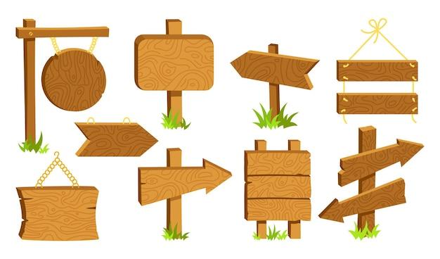 Sinais de madeira vazio outdoor conjunto de desenhos animados. coleção rural de ponteiro de flecha