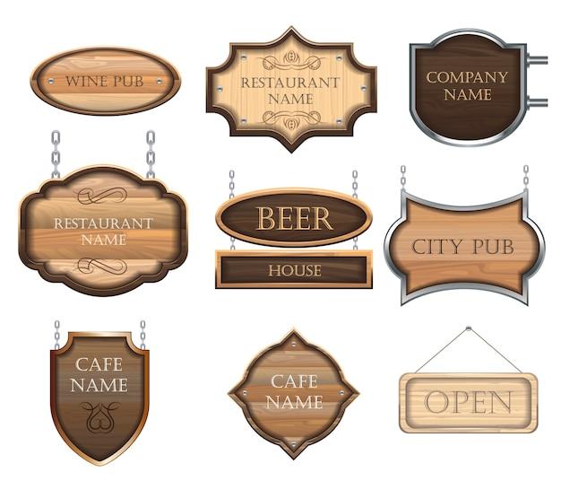 Sinais de madeira vintage, um conjunto de figuras diferentes, para decorar restaurantes e cafés.