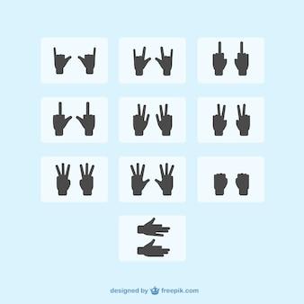 Sinais de mão silhueta