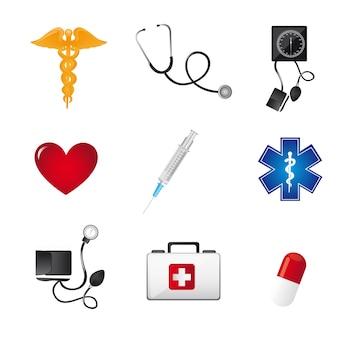 Sinais de médicos coloridos sobre ilustração vetorial de fundo branco