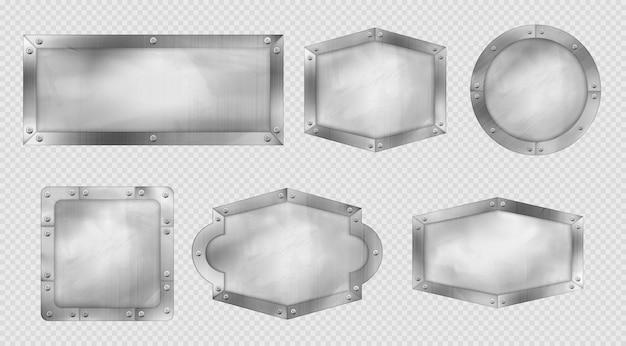 Sinais de metal, placas de aço ou prata com rebites e molduras.