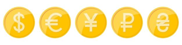 Sinais de moeda de diferentes países Vetor Premium