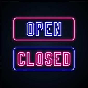 Sinais de néon abertos e fechados