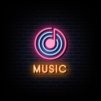 Sinais de néon com logotipo de estúdio de música