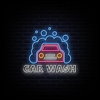 Sinais de néon com logotipo de lavagem de carro