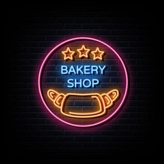 Sinais de néon com logotipo de padaria