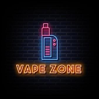 Sinais de néon com o logotipo da vape zone