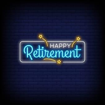 Sinais de néon de aposentadoria feliz