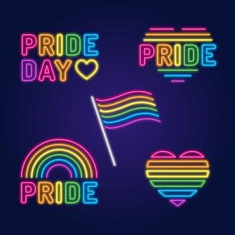Sinais de néon de celebração do dia do orgulho