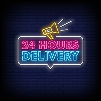 Sinais de néon de entrega 24 horas estilo texto