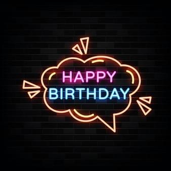 Sinais de néon de feliz aniversário. modelo de design de sinal de néon