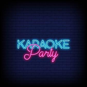Sinais de néon de festa de karaoke estilo texto