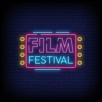 Sinais de néon de festival de cinema estilo texto