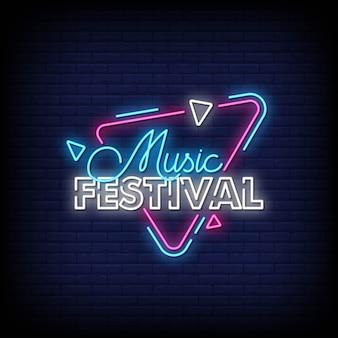 Sinais de néon de festival de música estilo texto
