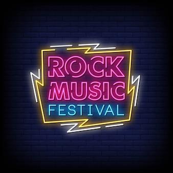 Sinais de néon de festival de música rock estilo texto