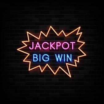 Sinais de néon de grande vitória do jackpot.