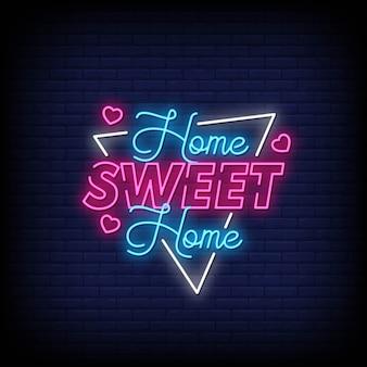 Sinais de néon de lar doce lar estilo vetor de texto