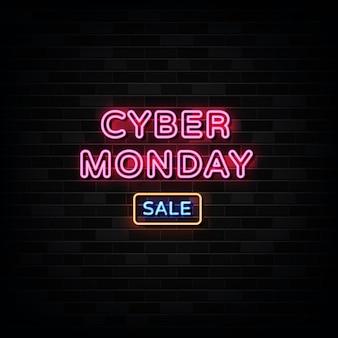 Sinais de néon de venda de cyber segunda-feira. modelo de design de sinal de néon