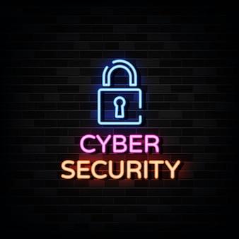 Sinais de néon de venda de segurança cibernética.