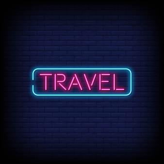 Sinais de néon de viagem estilo texto