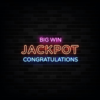 Sinais de néon do big win jackpot.
