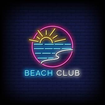 Sinais de néon do clube de praia