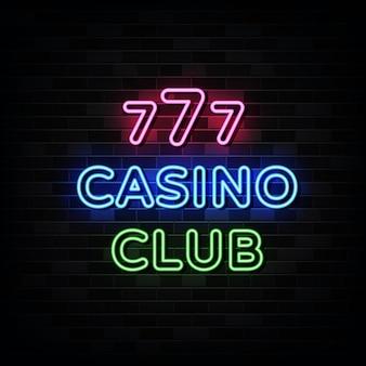 Sinais de néon do clube do casino.