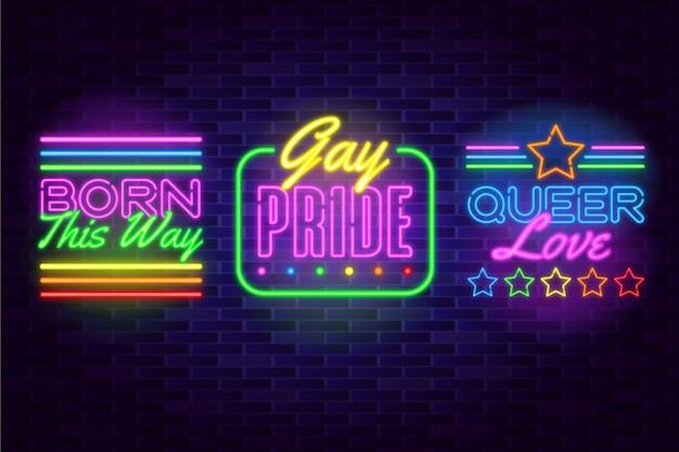 Sinais de néon do dia do orgulho